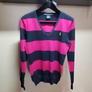 Ralph Lauren Sport womens striped v-neck sweater